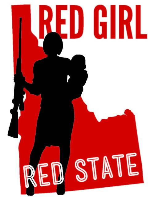 red girl red state hunting rifle